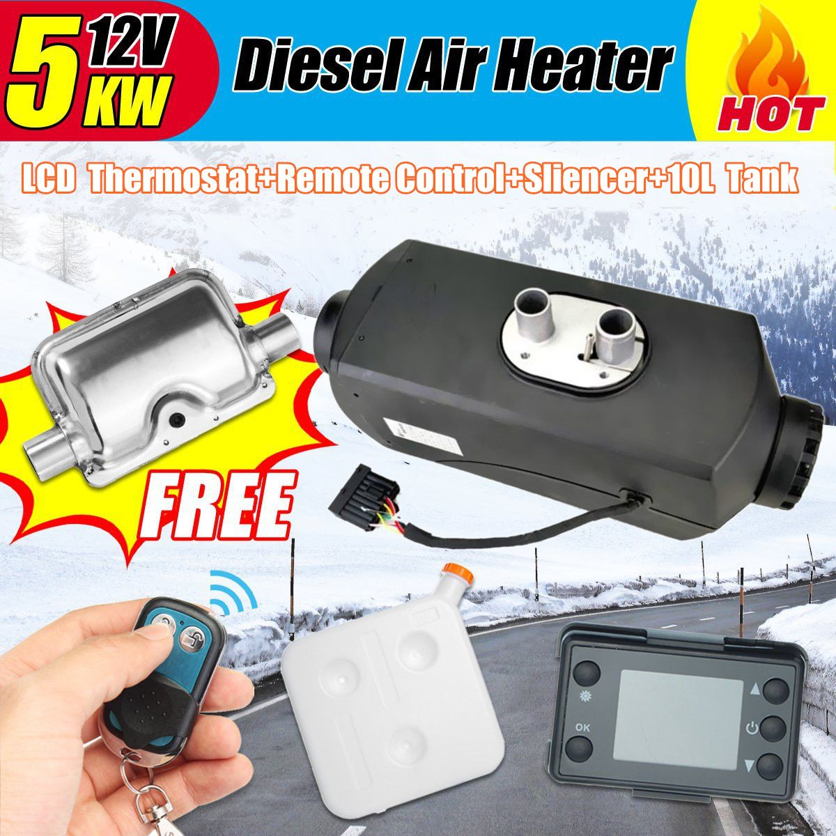 5KW 12V Air Diesels Heater Parking Heater With Remote Riscaldatore LCD Monitor Silencer 10L Tank For Trucks Boats Bus Car Heater