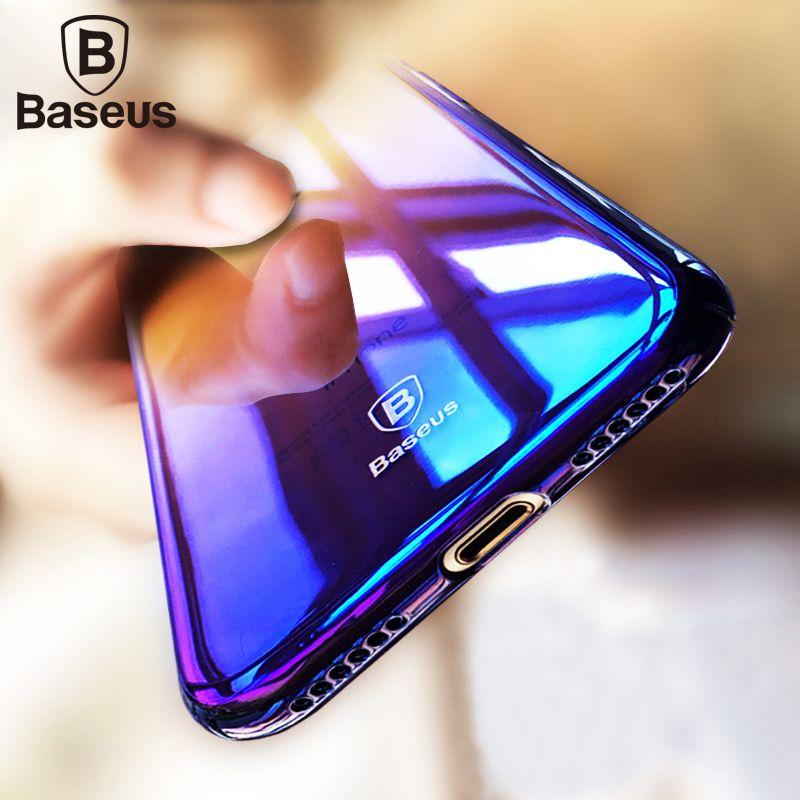 Baseus De Luxe Gradient Dur Boîtier En Plastique Pour iPhone 7 8 De Mode bleu Ray Lumière Ultra Mince Affaire Pour iPhone 7 Plus 8 Plus