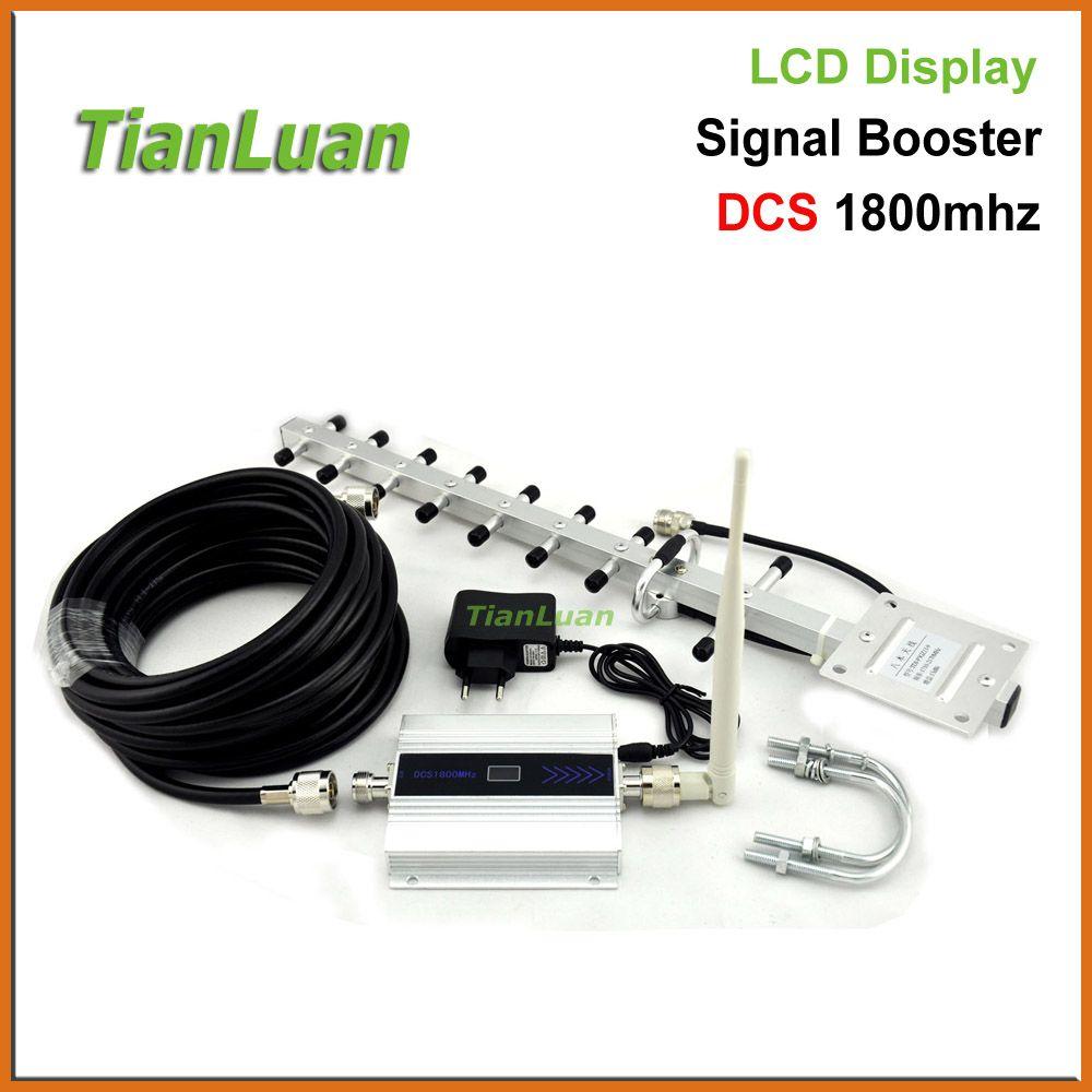 TianLuan mini DCS 1800 Mhz Mobile Phone Signal Booster 2G 4G Répéteur de Signal Amplificateur + Yagi Antenne avec 10 m Câble/LCD affichage