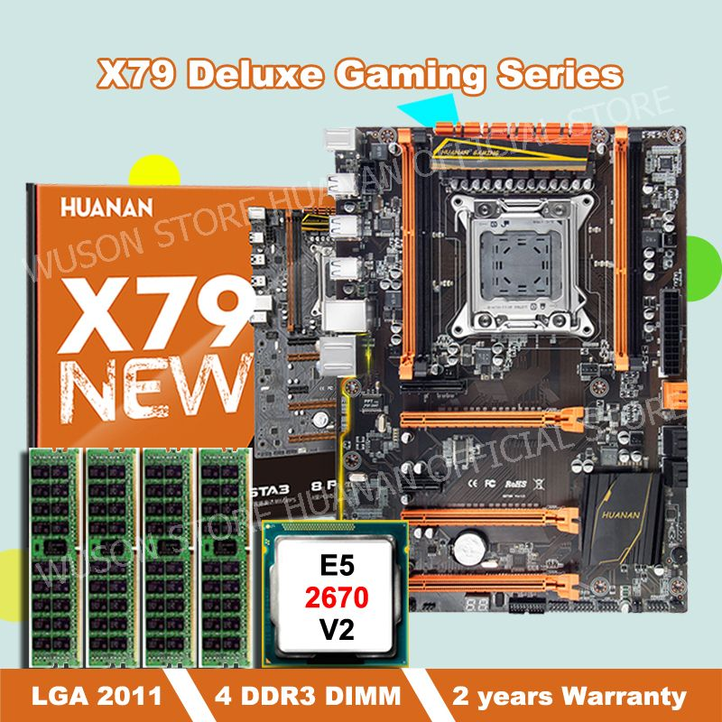 HUANAN ZHI deluxe X79 motherboard mit M.2 SSD slot rabatt motherboard mit CPU Intel Xeon E5 2670 V2 RAM 32G (4*8G) DDR3 RECC