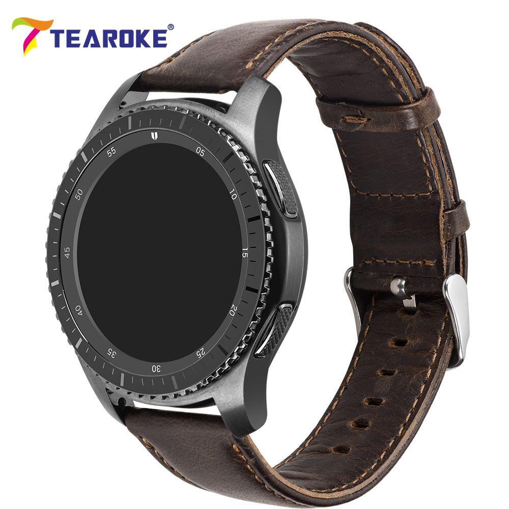 TEAROKE Fou Cheval En Cuir Bracelet pour Samsung Vitesse S2 S3 Classique Foncé Brun Montre Smart Watch Remplacement Bracelet de Courroie De Bande