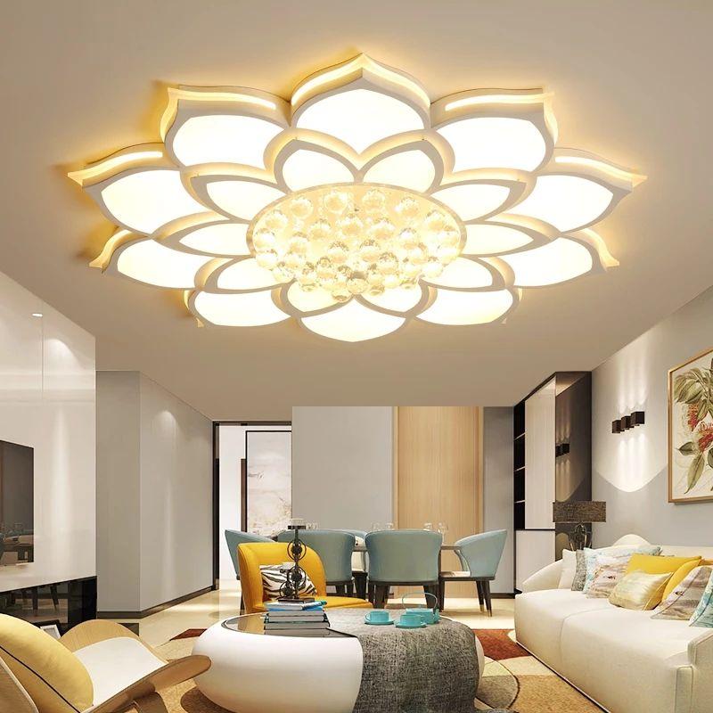 New Arrival White Finish Crystal Modern Led Ceiling Lights For Living Room Bedroom Dia520/680/800mm Ceiling Lamp Fixtures