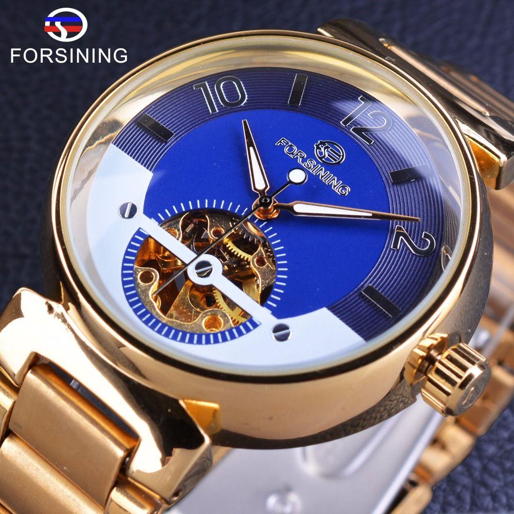 Forsining bleu océan moyen-orient Design de luxe en acier inoxydable doré montres pour hommes Top marque de luxe automatique montre-bracelet horloge