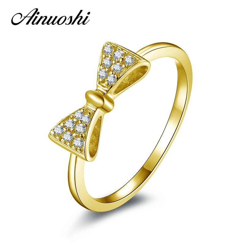AINUOSHI 10K Solid Yellow Gold Engagement Ring Simulated Diamond Bowknot Shape Jewelry Wedding Engagement Rings for Women Gift
