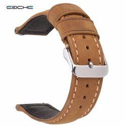 Eache 20 Mm 22 Mm Genuine Leather Watch Band Coklat Muda Coklat Gelap Matte Retro Kulit dengan Cepat rilis Musim Semi Bar