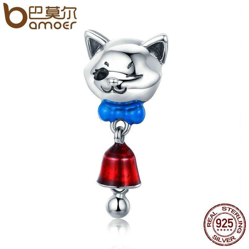 BAMOER Animal Collection 925 Sterling Silver Tied Cat with Bell Enamel Charm fit Women Bracelet Necklace DIY Jewelry Gift SCC456