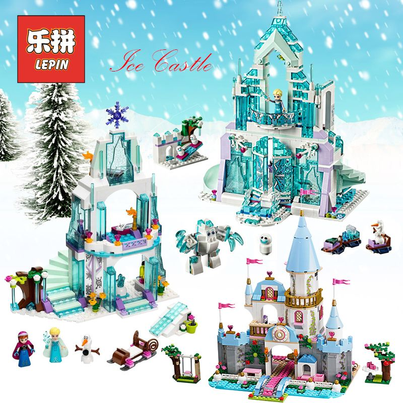 Lepin Elsa Anna Ice Dream Romantic Castle 25002 Model Building Blocks Cinderella Princess Castle 25006 City set Legoings Friends