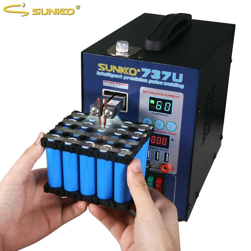 SUNKKO 737U Spot Welding Machine 2.8kw Double Pulse Battery Spot Welder Lithium Testing USB Charging for 18650 Battery Pack Weld