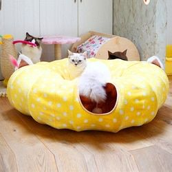Navidad gato de túnel Camas casa y dormir con bola juego de gato divertido gato largo túnel jugar juguetes plegables a granel