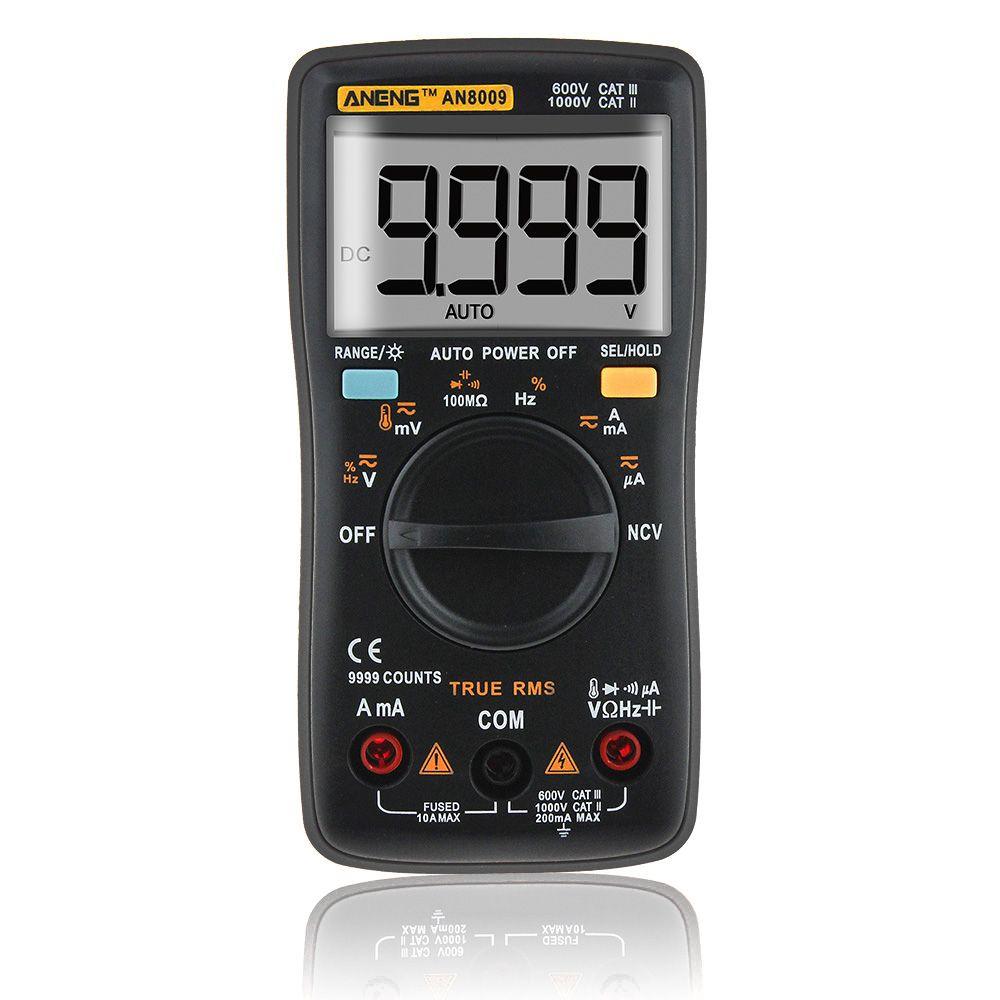 AN8009 Auto Range Digital Multimeter 9999 counts With Backlight AC/DC Ammeter Voltmeter Ohm Transistor Tester multi meter