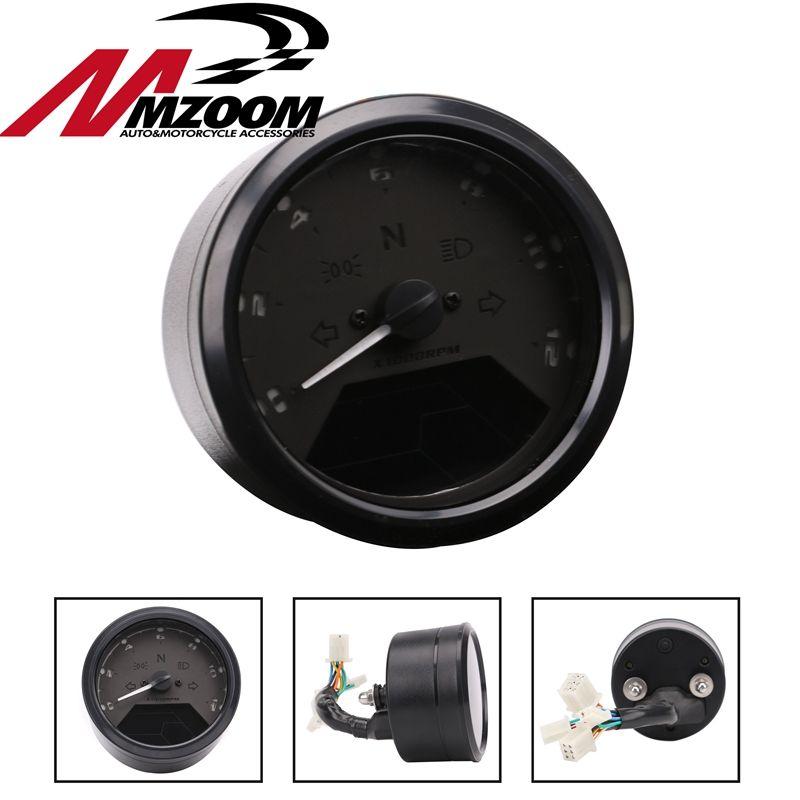 8-18V Multi Function LCD Backlight Digital Motorcycle Odometer Tachometer Speedometer Gauge Motorbike 12000RPM for 2,4 Cylinder