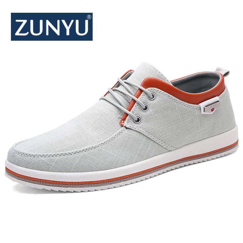 ZUNYU nouveauté printemps été confortable chaussures décontractées hommes toile chaussures pour hommes à lacets marque de mode mocassins plats chaussure