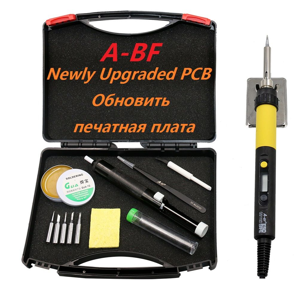 New Soldering Iron A-BF GS90D GS110D LCD Display adjustable temperature electric soldering iron Kit with Solder Soldering tips