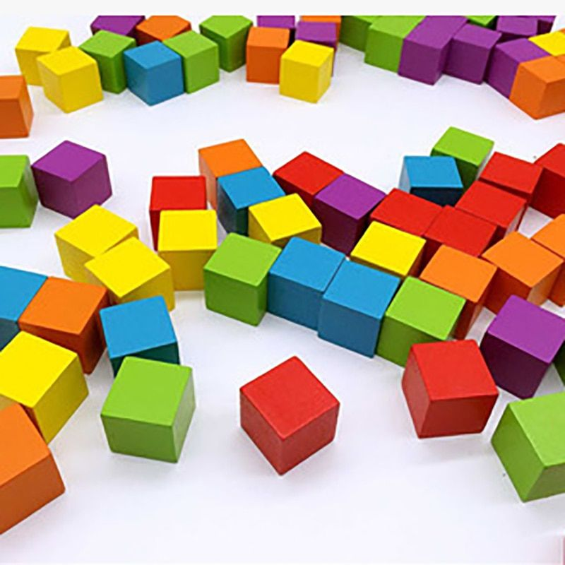 Multicolour Tower Piece Non-polluted Wooden Building Blocks, 2cm*2cm Box Wooden Funny Board Game For Children