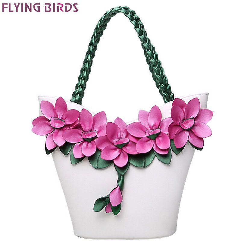 FLYING BIRDS women tote designer bag leather handbag flower composite bags women's pouch vintage bolsas brands purse LM3874fb
