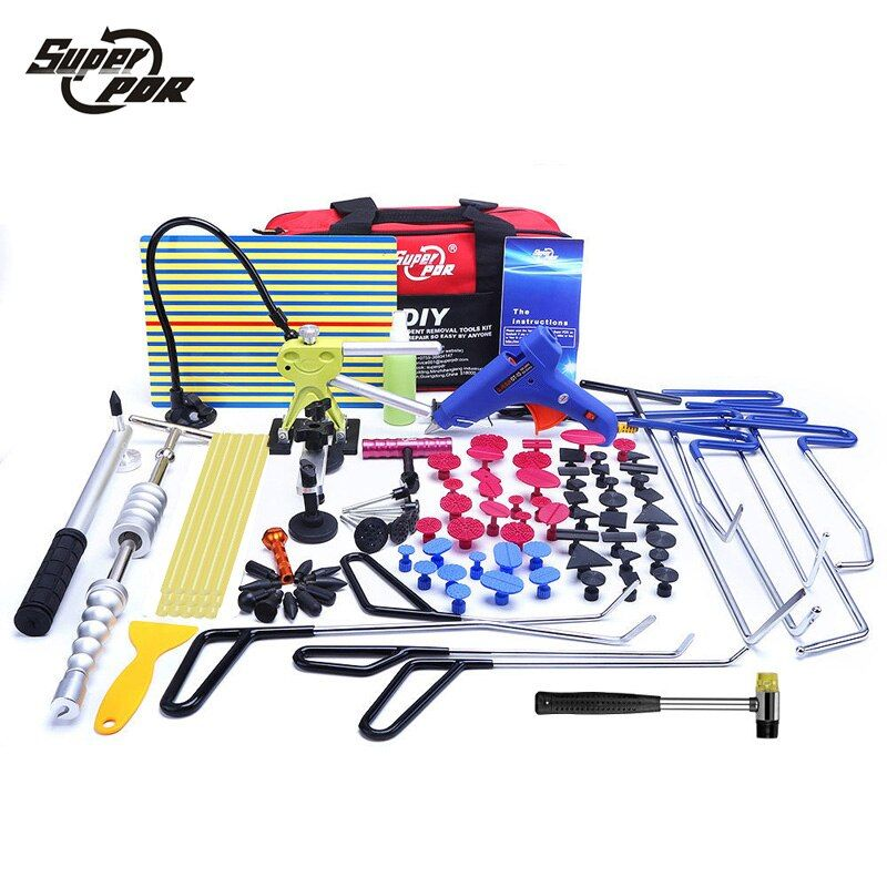 Super PDR Paintless Dent Repair Tools Push Rod Hooks Crowbar Light Reflector Board Slide hammer glue puller Dent Removal toolkit