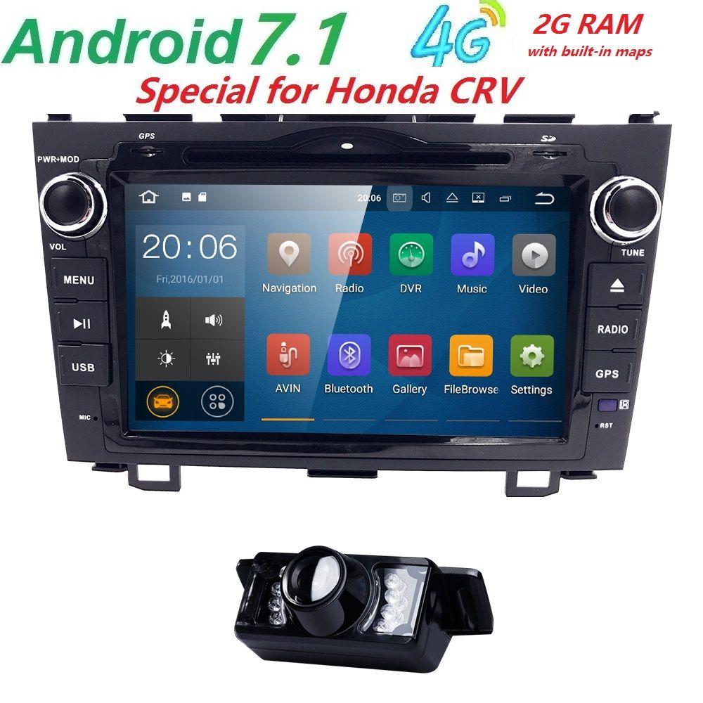Android 7.1 HD 1024*600 Car DVD Player Radio For Honda CRV 2007 2008 2009 2010 2011 4G WIFI GPS Navigation Head Unit 2 din 2GRAM