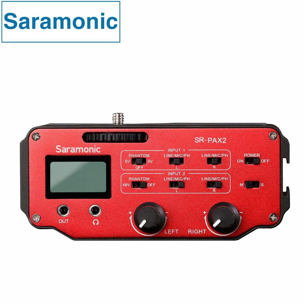 Saramonic SR-PAX2 Audio mixer Preamplifier Two XLR and Two 3.5mm Jack for DSLR&Mirrorless&Blackmagic Design Pocket Cinema Camera
