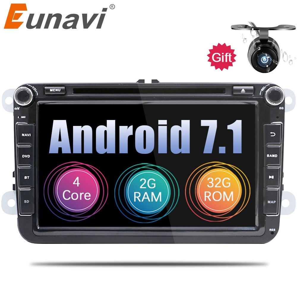 Eunavi 2 Din Android 7.1 8.1 vw car dvd for Polo Jetta Tiguan VW passat b6 cc fabia mirror link bluetooth wifi Radio in dash