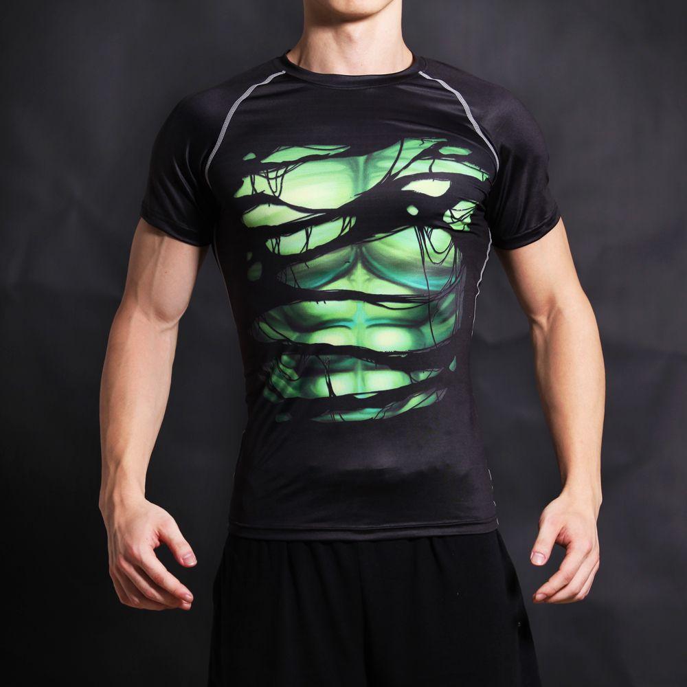Vert Géant Super Hero T-shirt Tee 3D Imprimé T-shirts Hommes Court manches Cosplay Costume DC Film Mince Fit G ym Vêtements Tops Mâle