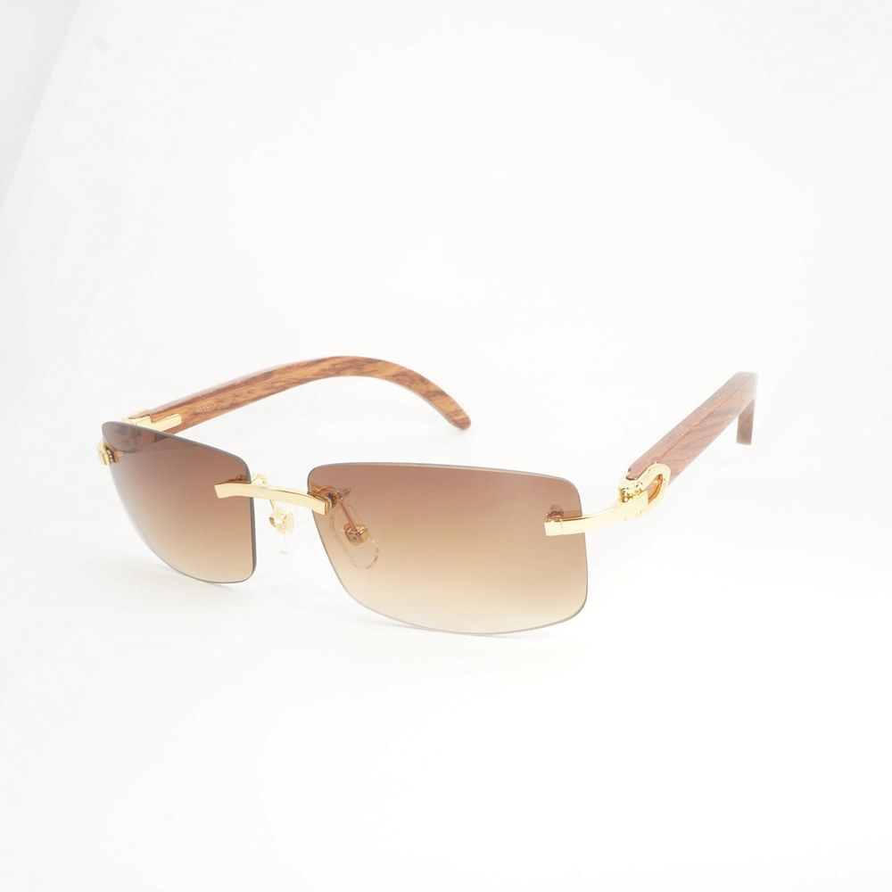Vintage Wholesale Rimless Sunglasses Men Wood Sunglasses Women for Traveling, Club and Beach Customizing Lens is Acceptable