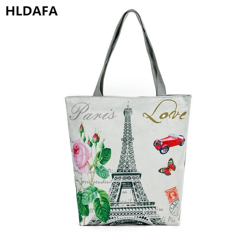 2018 Новый Для женщин холст, пляжная сумка Париж башня печатных женский Сумки на плечо сумка для Обувь для девочек один сумка-шоппер Топ-ручка ...