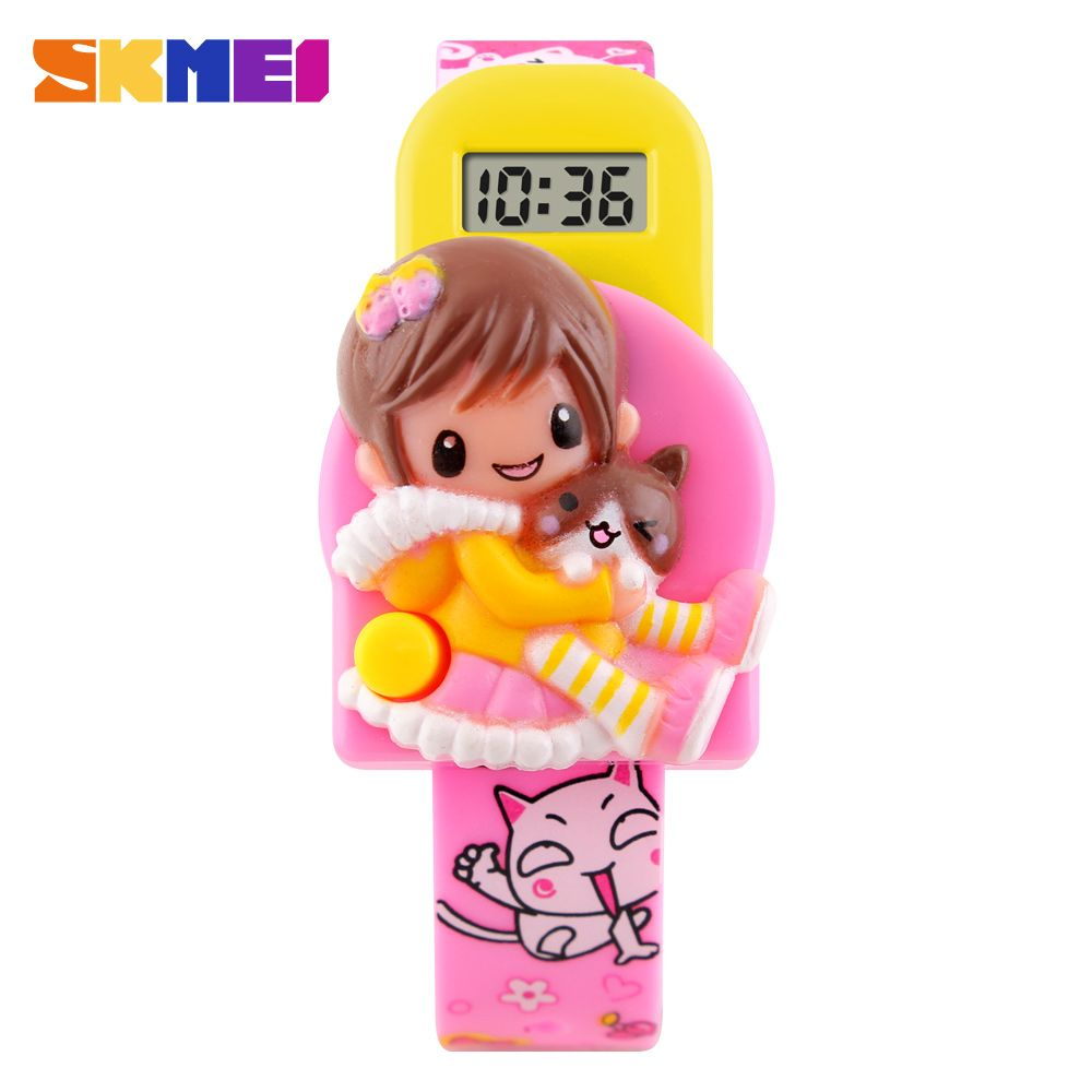 Skmei niños lindos niños relojes moda casual sport reloj de la historieta para las niñas correa de goma de los niños led digital relojes de pulsera