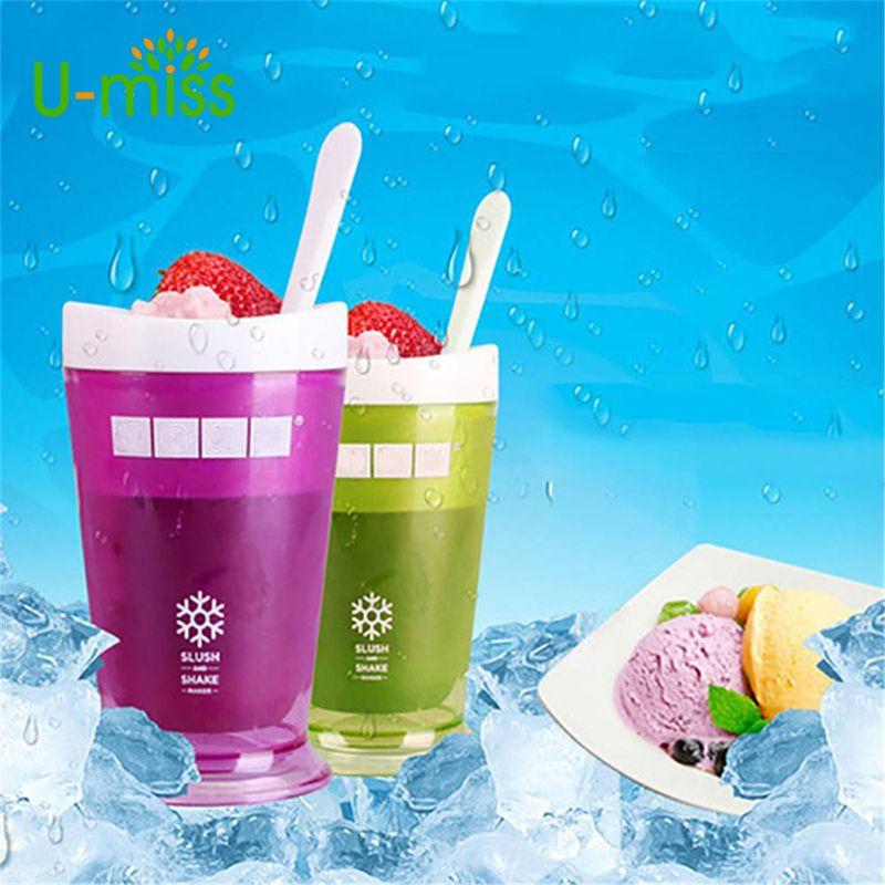U-miss Milkshake Ice Cream Cup Smoothie Slush Shake Maker Cup Ice Cream Maker Molds Popsicle Molds
