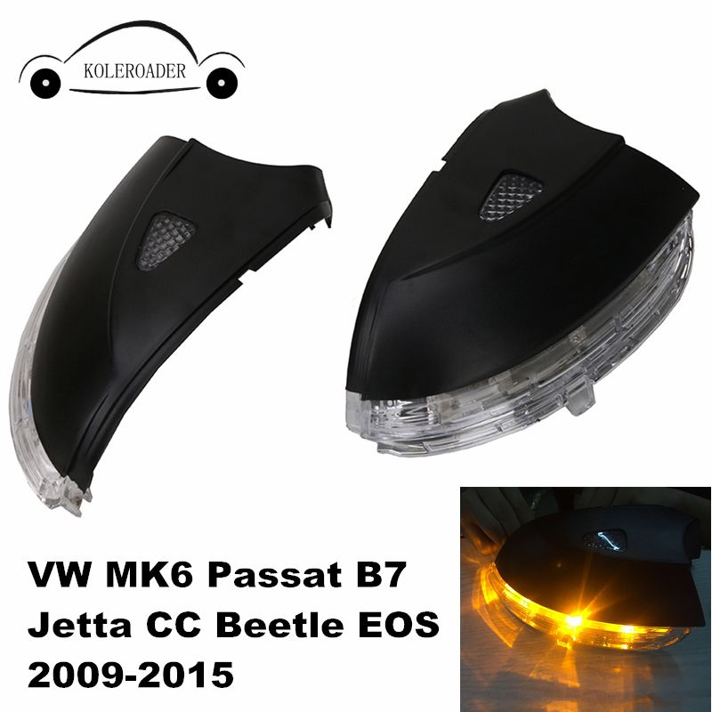 Door Side Rear View Mirror Cover Case with LED Turn Signal Light for VW MK6 Passat B7 Jetta CC Beetle EOS 2009-2015 Left / Right