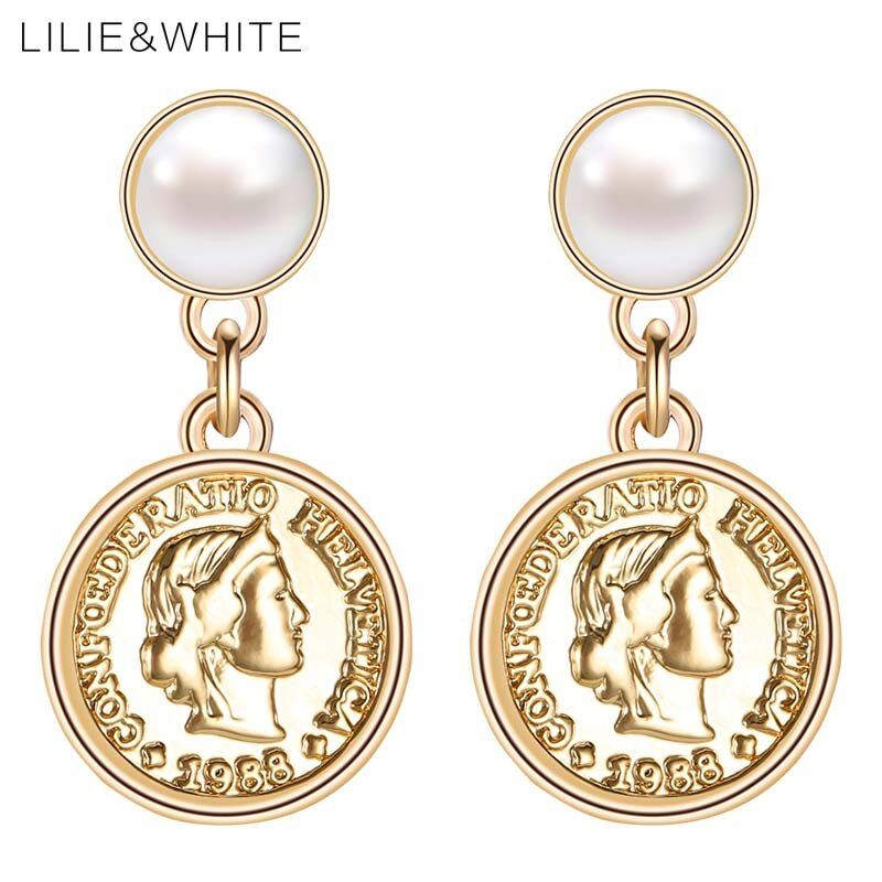 LILIE&WHITE New Imitation Pearls And Head Portrait Coins Drop Earrings For Women Vintage Earrings Jewelry Girlfriend Gift HF