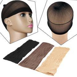 2 Pcs/sac Élastique Unisexe Bas Perruque Liner Cap Snood Nylon Maille extensible Beige Chape Pour Porter Des Perruques Noir Maille Cheveux L04708