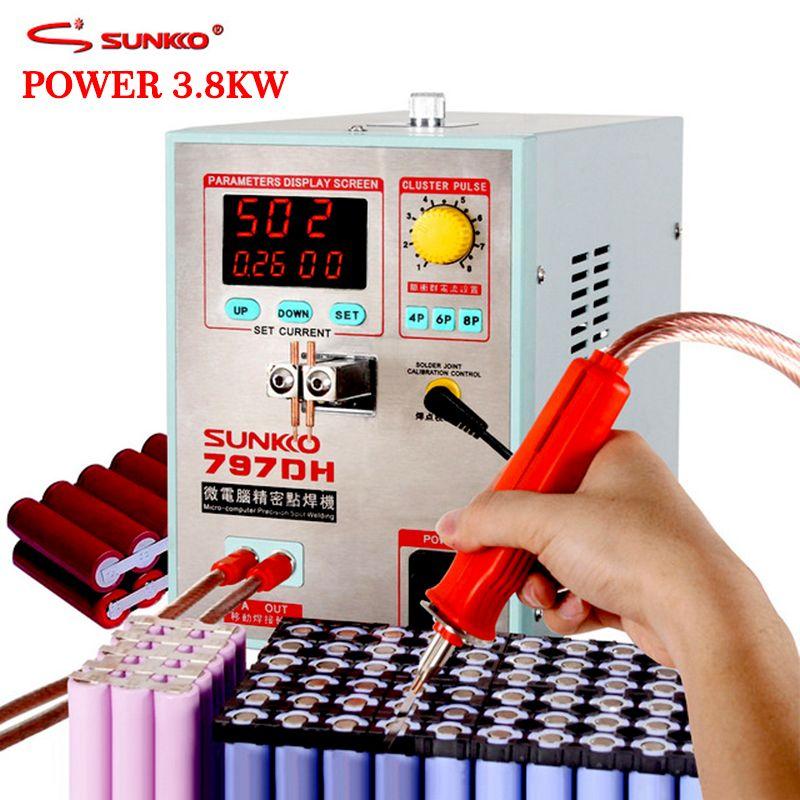 SUNKKO 797DH battery spot welding machine 3.8KW High Power Welding thickness up to 0.35mm Pulse spot welder with 70B weldin