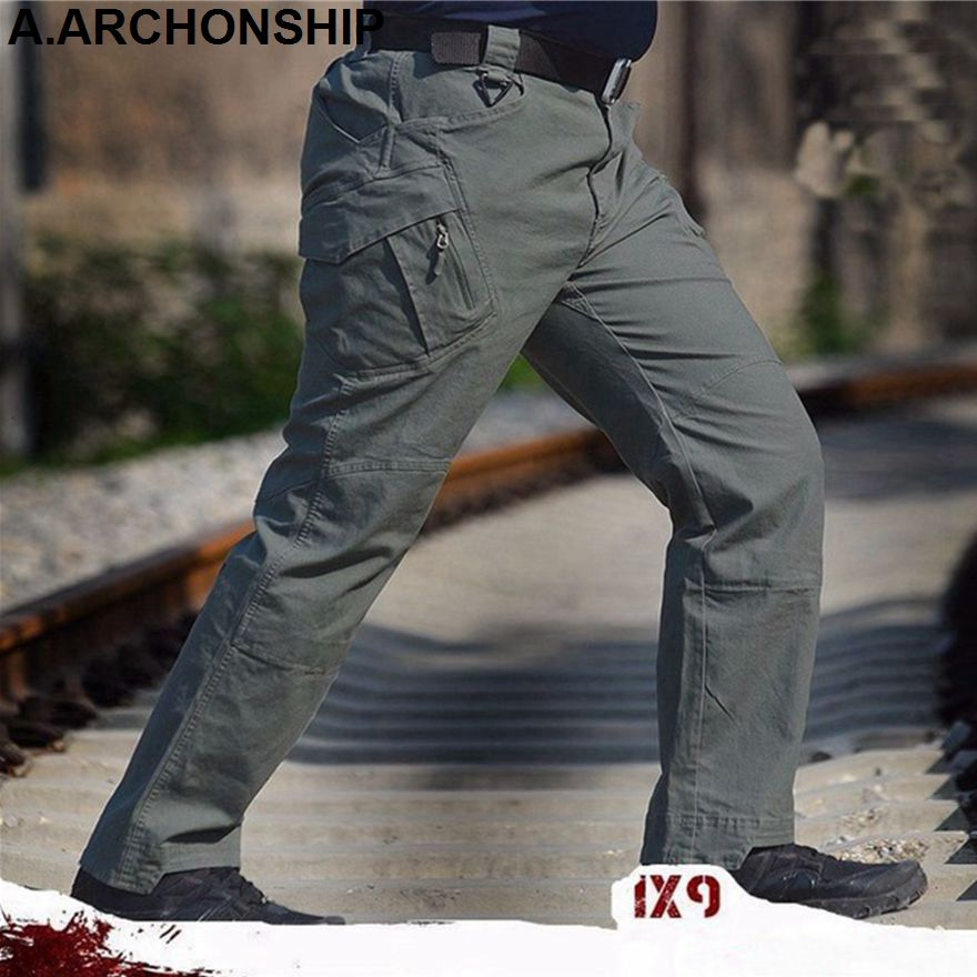 2017 IX9 Men Militar Tactical Pants Combat Trousers SWAT Army Military Pants Mens Cargo Outdoors Pants Casual Cotton Trousers