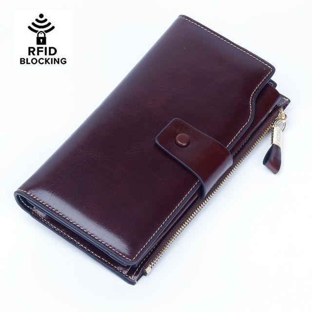 Women's RFID Blocking Luxury Wax Genuine Leather Clutch Wallet Card Holder Organizer Ladies Purse Phone Female Big Clutch