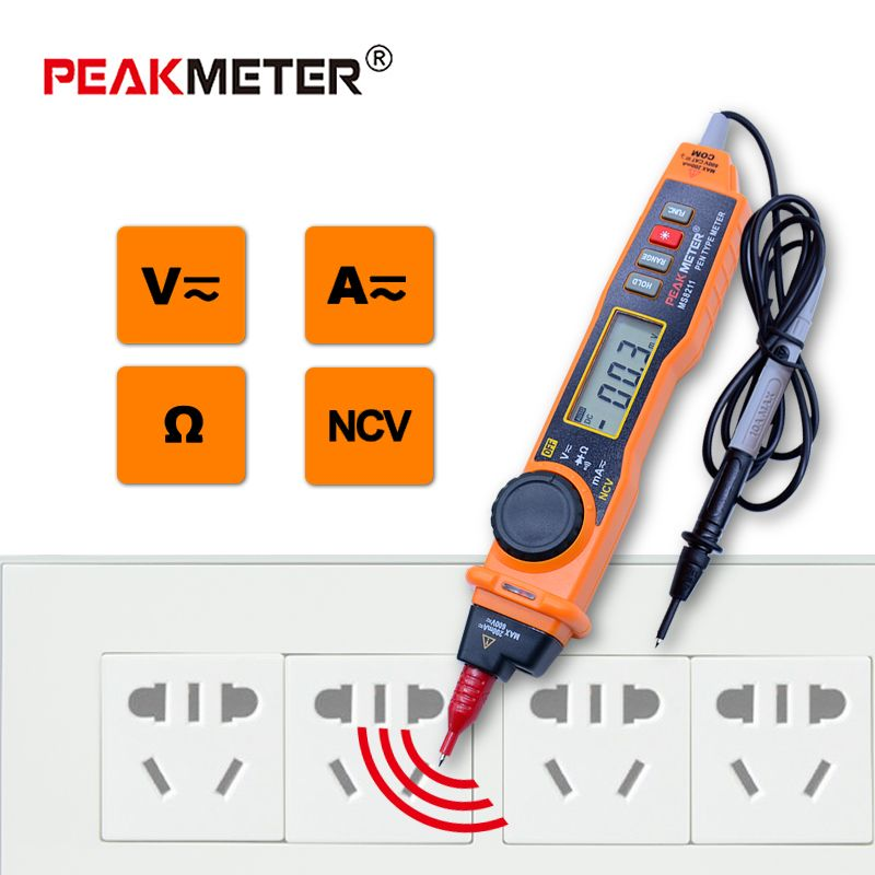 PEAKMETER MS8211 Digital Multimeter with probe ACV/DCV Electric Handheld Tester Multitester digital pen type multimeter