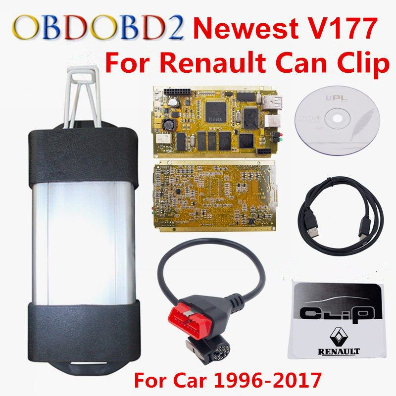 Latest V177 For Renault Can Clip Full Chip CYPRESS AN2131QC OBDII Auto Diagnostic Interface CAN Clip For Renault Code Scanner