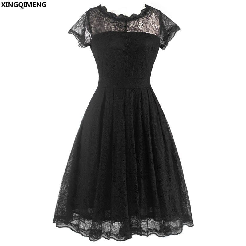 In Stock Cheap Simple Little Black Dress Lace Short Cocktail Dresses Elegant Knee Length Illusion Neck Homecoming Dress
