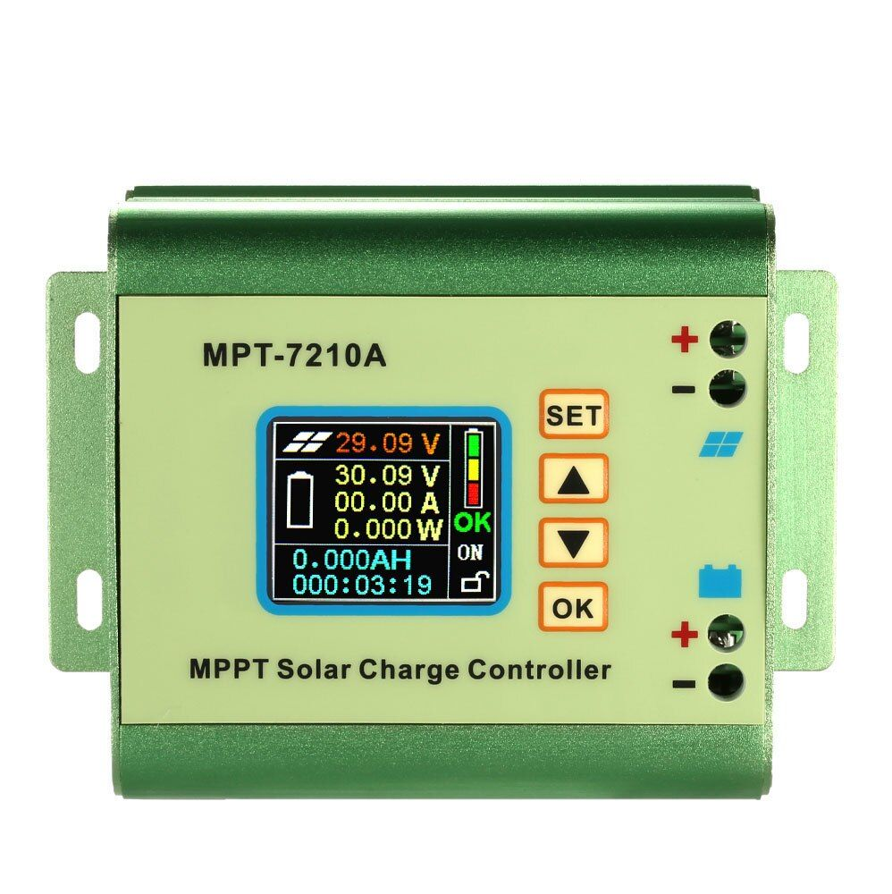 MPPT Solar Panel Battery Regulator Charge Controller with LCD Color Display 24/36/48/60/72V 10A with DC-DC Boost Charge Function