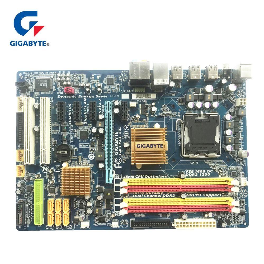Gigabyte GA-EP43-S3L 100% Original Motherboard LGA 775 DDR2 Desktop Computer Mainboard 16GB EP43-DS3L UD3L Used Boards For P43