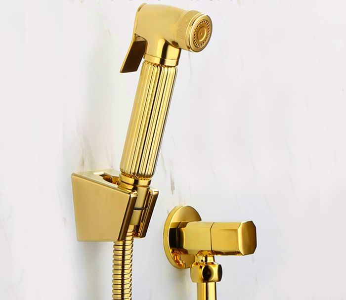 Torneira toilette or à main couche cuivre Bidet pulvérisateur Douche Shattaf Spray Douche kit Jet & or angle valve BD211-B