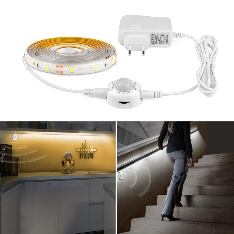 PIR détecteur de mouvement LED bande ruban ruban lumière intelligente allumer la minuterie SMD 3528 blanc chaud lit lumières chambre armoire nuit lampe