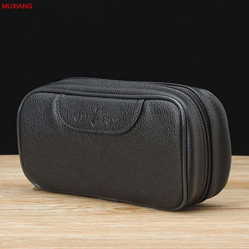 MUXIANG bon Portable en cuir PU Litchi noir tuyau pochette/étui/sac pour 2 tuyaux de tabagisme inviolable boîte à outils fc0051