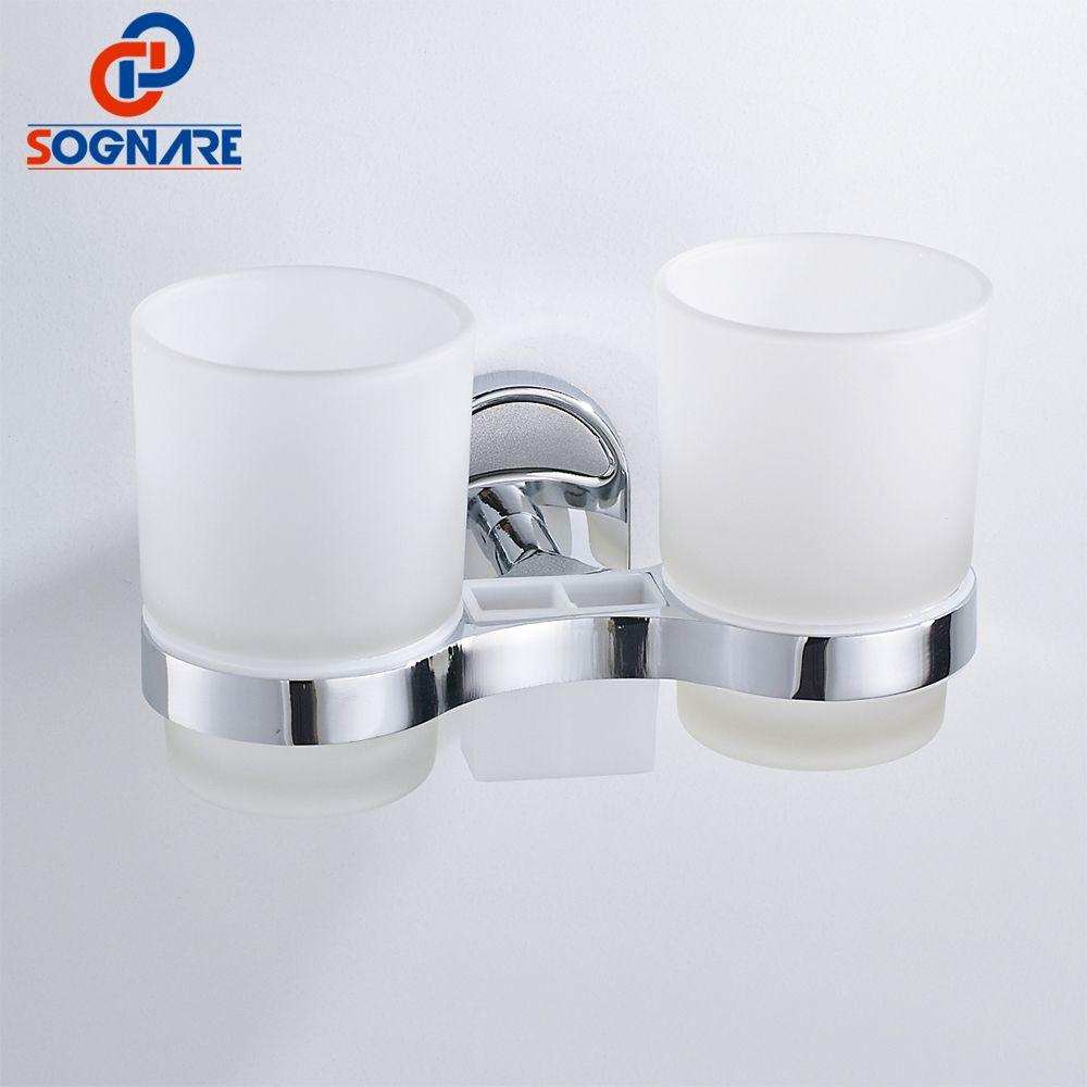 SOGNARE argent en alliage de Zinc brosse à dents dent support de verre Double support de verre tasses en verre montage mural salle de bains accessoires Chrome 1608-2