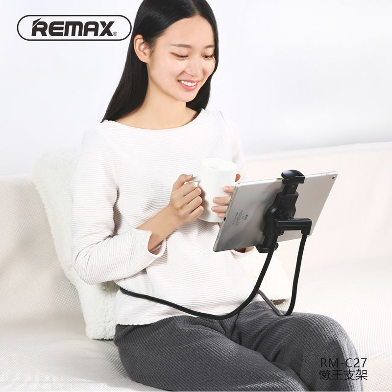Remax mobile phone holder 360 degree Flexible Lazy stand can neck hanging waist hanging with shcokproof bubble support 4-10 inch