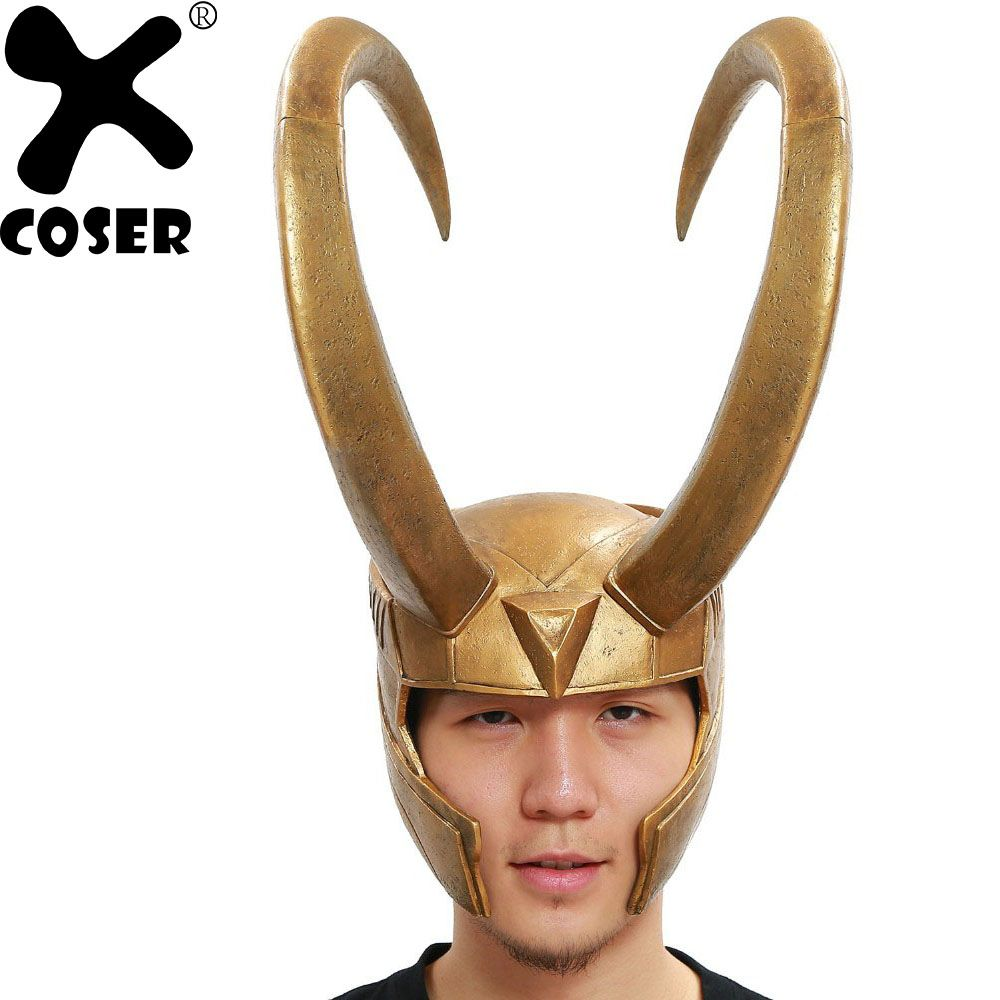 XCOSER Loki Helmet Marvel Thor Loki Cosplay Costume Golden PVC Full Head Mask Halloween Prop Men Party Cosplay Brand New Sale
