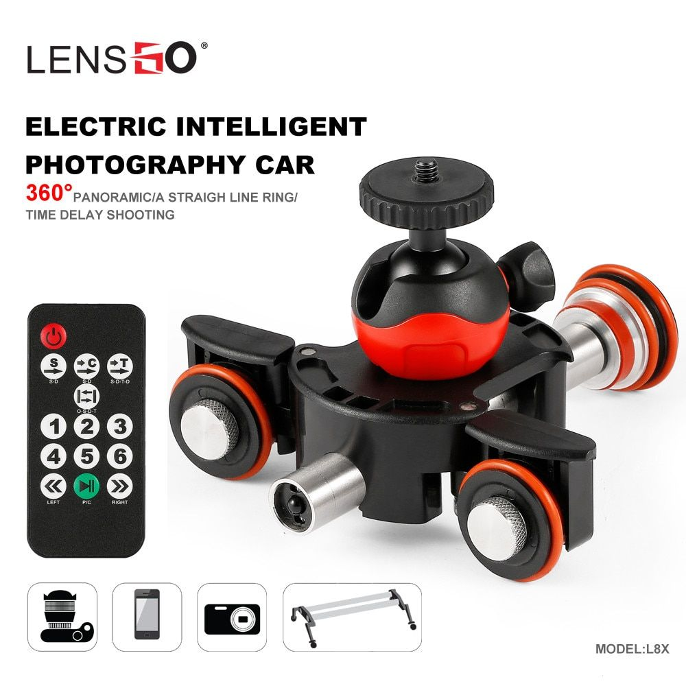 LENSGO Camera Video Track dolly Motorized Electric Slider Motor Dolly Truck for Nikon Canon DSLR camera DV Movie Vlogging Gear