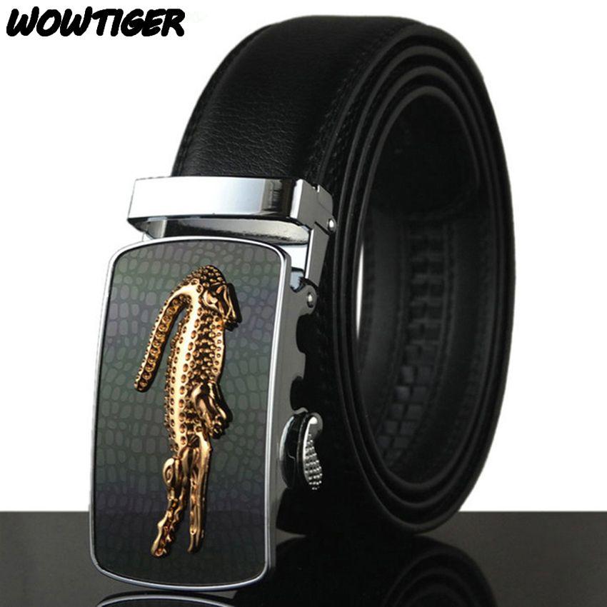 WOWTIGER ceinture homme chaud mode cuir de vachette hommes Designer luxe célèbre haute qualité automatique boucle hommes ceintures pour hommes