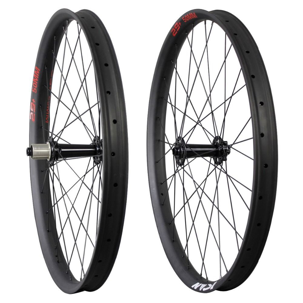 2016 ican 29+ carbon wheels 29 plus Carbon Fat MTB wheelset Rim 50mm Width Double Wall Hookless Tubeless Compatible