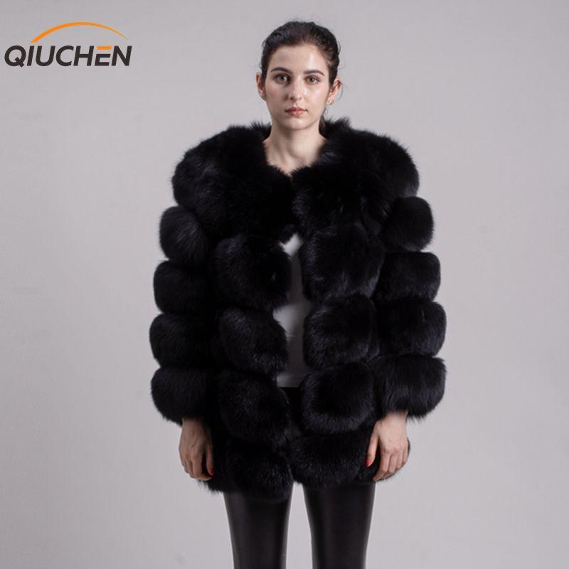 QIUCHEN PJ8078 BIG SALE FREE SHIPPING all real photos women winter real fox fur coat long sleeves fox fur jacket girls jacket