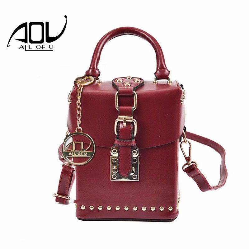 AOU Nouvelles Femmes Rivet sacs Boîte De Mode designer sac À Bandoulière 2018 Dames Rouge sacs à main de luxe de haute qualité en cuir PU Messenger sac